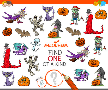 Illustration pour Cartoon Illustration of Find One of a Kind Picture Educational Activity Game for Children with Halloween Characters - image libre de droit