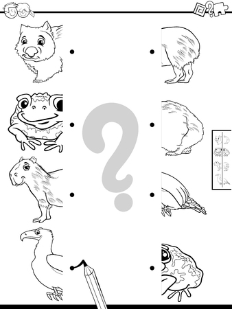 Illustration pour Black and White Cartoon Illustration of Educational Game of Matching Halves of Pictures with Animals Coloring Book - image libre de droit