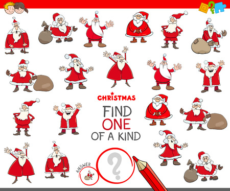 Illustration pour Cartoon Illustration of Find One of a Kind Picture Educational Game for Children with Santa Claus Characters - image libre de droit