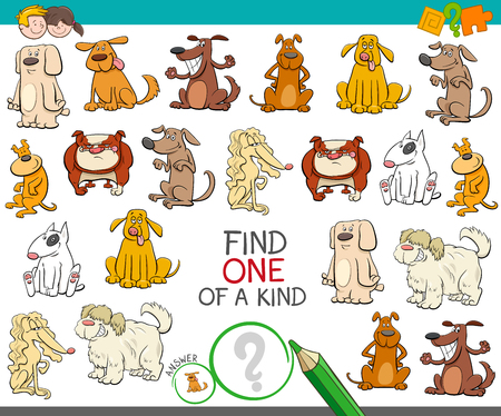 Illustration pour Cartoon Illustration of Find One of a Kind Picture Educational Activity Game for Children with Dogs Animal Characters - image libre de droit