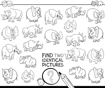 Ilustración de Black and White Cartoon Illustration of Finding Two Identical Pictures Educational Game for Kids with Elephants and Rhinoceros Characters Coloring Book - Imagen libre de derechos