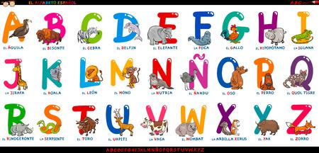 Foto de Cartoon Illustration of Educational Colorful Spanish Alphabet or Alfabeto Espanol Set with Funny Animals - Imagen libre de derechos