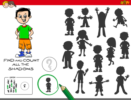 Illustration pour Cartoon Illustration of Finding and Counting The Shadows Educational Task for Children - image libre de droit