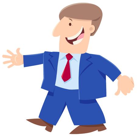 Illustration pour Cartoon Illustration of Happy Man or Businessman Funny Character - image libre de droit