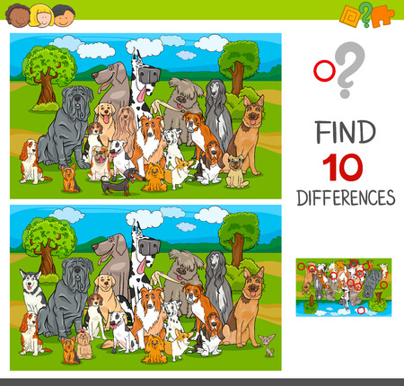 Illustration pour Cartoon Illustration of Finding Ten Differences Between Pictures Educational Game for Children with Purebred Dogs Animal Characters - image libre de droit