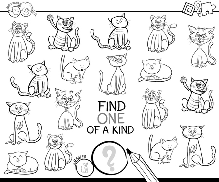 Illustration pour Black and White Cartoon Illustration of Find One of a Kind Picture Educational Activity Game for Children with Cats Animal Characters Color Book - image libre de droit