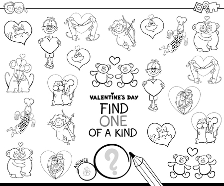 Illustration pour Black and White Cartoon Illustration of Find One of a Kind Picture Educational Game for Kids with Valentines Day Characters Coloring Book - image libre de droit