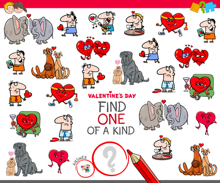 Illustration for Cartoon Illustration of Find One of a Kind Clip Art Educational Game for Kids with Valentines Day Characters - Royalty Free Image