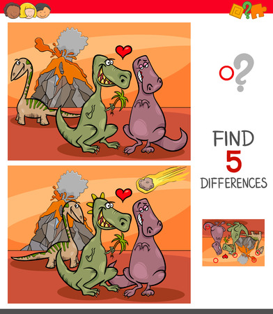 Illustration pour Cartoon Illustration of Finding Five Differences Between Pictures Educational Game for Children with Dinosaurs in Love - image libre de droit