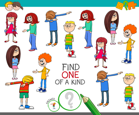 Illustration pour Cartoon Illustration of Find One of a Kind Picture Educational Activity Game with Kids and Teenager Characters - image libre de droit
