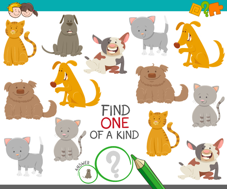 Illustration pour Cartoon Illustration of Find One of a Kind Picture Educational Activity Game with Cute Dogs and Cats Animal Characters - image libre de droit