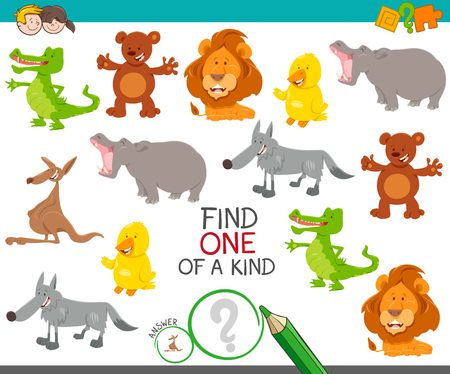 Illustration pour Cartoon Illustration of Find One of a Kind Picture Educational Activity Game with Cute Wild Animal Characters - image libre de droit