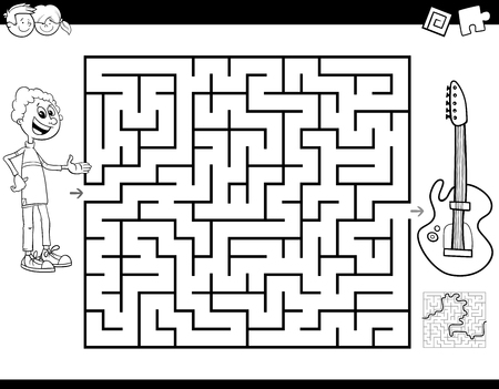 Black and White Cartoon Illustration of Education Maze or Labyrinth Activity Game for Children with Boy and Electric Guitar Musical Instrument Coloring Book