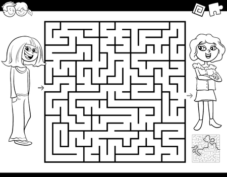Black and White Cartoon Illustration of Education Maze or Labyrinth Activity Game for Children with Girl and Her Best Friend Coloring Book