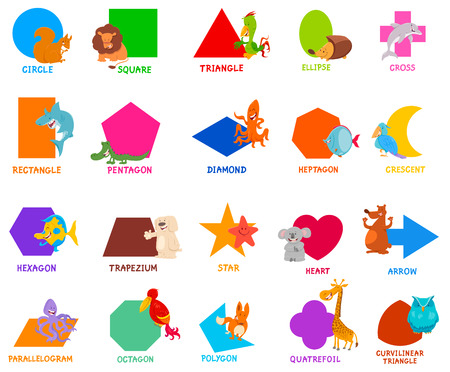 Photo pour Cartoon Illustration of Educational Basic Geometric Shapes for Preschool or Elementary School Children with Cute Animal Characters - image libre de droit