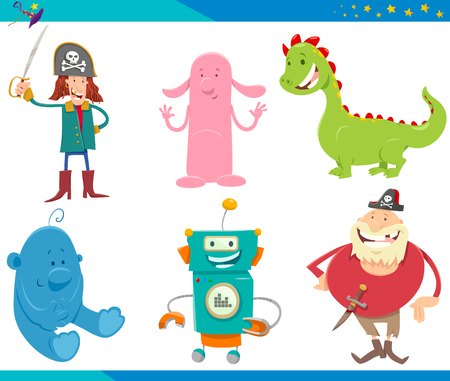 Illustration for Cartoon Illustrations of Funny Fantasy or Fairy Tale Characters Set - Royalty Free Image