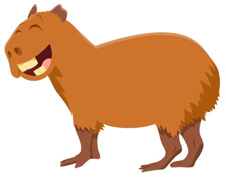 Illustration pour Cartoon Illustration of Funny Capybara Animal Character - image libre de droit