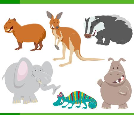 Illustration pour Cartoon Illustration of Wild Funny Animal Characters Set - image libre de droit