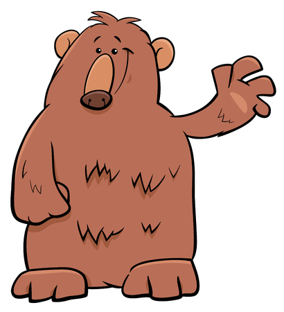 Illustration for Cartoon Illustration of Funny Brown Bear Wild Animal Character - Royalty Free Image
