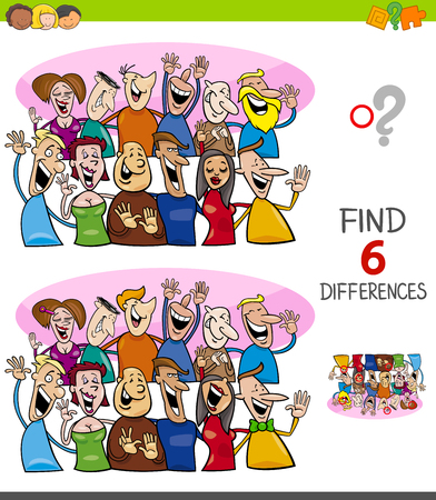 Illustration pour Cartoon Illustration of Finding Six Differences Between Pictures Educational Game for Children with Happy People Characters Group - image libre de droit