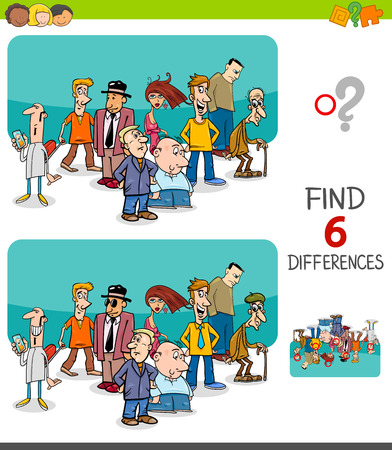 Illustration pour Cartoon Illustration of Finding Six Differences Between Pictures Educational Game for Kids with People Characters Group - image libre de droit