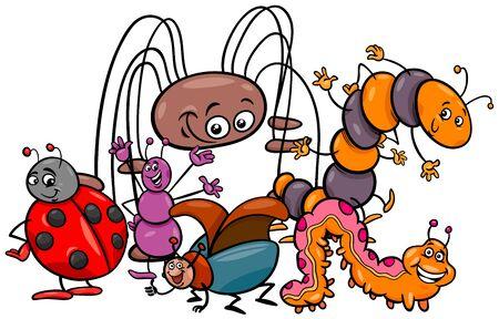Vektor für Cartoon Illustration of Funny Insects Animal Characters Group - Lizenzfreies Bild