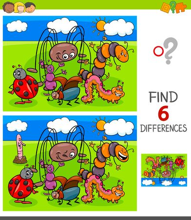 Illustration pour Cartoon Illustration of Finding Six Differences Between Pictures Educational Game for Children with Funny Insects Characters - image libre de droit