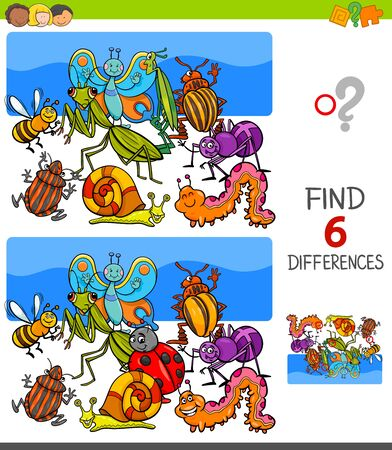 Illustration pour Cartoon Illustration of Finding Six Differences Between Pictures Educational Game for Children with Insects Animal Characters - image libre de droit