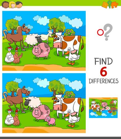 Illustration pour Cartoon Illustration of Finding Six Differences Between Pictures Educational Game for Children with Farm Animal Characters - image libre de droit