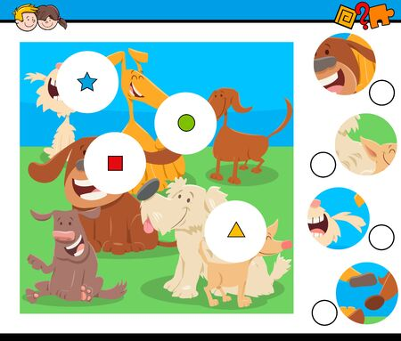 Illustration pour Cartoon Illustration of Educational Match the Pieces Jigsaw Puzzle Game for Children with Funny Dogs Animal Characters - image libre de droit