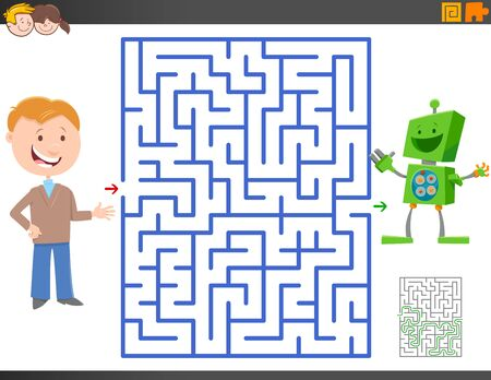 Cartoon Illustration of Educational Maze Activity Game for Children with Boy and Toy Robot Character