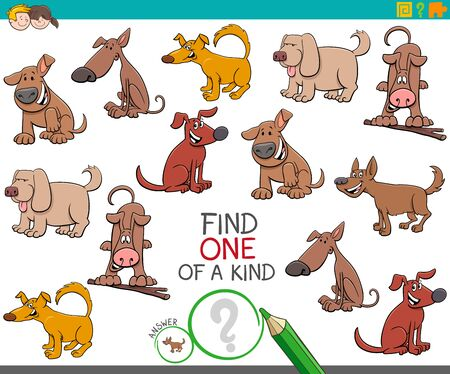 Illustration pour Cartoon Illustration of Find One of a Kind Picture Educational Activity Task for Children with Dogs Animal Characters - image libre de droit