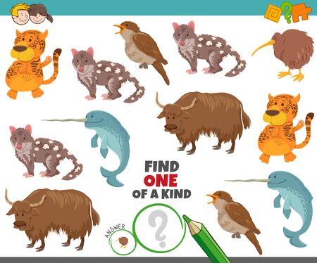 Illustration pour Cartoon Illustration of Find One of a Kind Picture Educational Task with Funny Animal Characters - image libre de droit