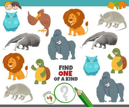 Illustration pour Cartoon Illustration of Find One of a Kind Picture Educational Game with Animal Characters - image libre de droit
