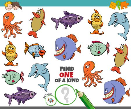 Illustration pour Cartoon Illustration of Find One of a Kind Picture Educational Game with Funny Sea Life Animal Characters - image libre de droit