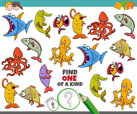 Illustration pour Cartoon Illustration of Find One of a Kind Picture Educational Game with Funny Sea Life Marine Animal Characters - image libre de droit
