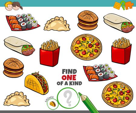 Illustration pour Cartoon Illustration of Find One of a Kind Picture Educational Game with Food Objects - image libre de droit