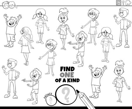 Illustration pour Black and White Cartoon Illustration of Find One of a Kind Picture Educational Game with Comic Children and Teenager Characters Coloring Book Page - image libre de droit