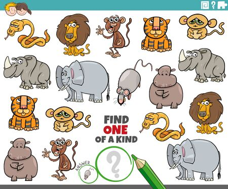 Illustration pour Cartoon Illustration of Find One of a Kind Picture Educational Game with Wild Animal Characters - image libre de droit