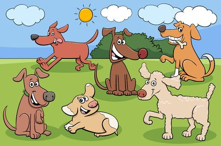 Illustration pour Cartoon Illustration of Dogs and Puppies Animal Comic Characters Group - image libre de droit