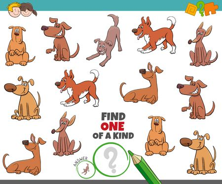 Illustration pour Cartoon Illustration of Find One of a Kind Picture Educational Game with Happy Dogs and Puppies Animal Characters - image libre de droit