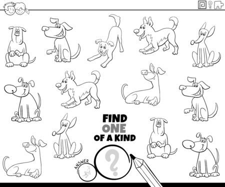 Illustration pour Black and White Cartoon Illustration of Find One of a Kind Picture Educational Game with Happy Dogs and Puppies Animal Characters Coloring Book Page - image libre de droit