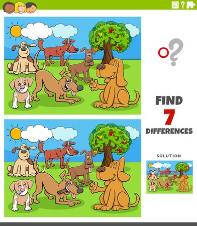 Illustration pour Cartoon Illustration of Finding Differences Between Pictures Educational Task for Children with Dog Characters Group - image libre de droit