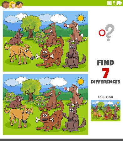 Illustration pour Cartoon Illustration of Finding Differences Between Pictures Educational Task for Kids with Dogs and Puppies Group - image libre de droit