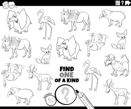 Illustration pour Black and White Cartoon Illustration of Find One of a Kind Picture Educational Game with Comic Wild Animal Characters Coloring Book Page - image libre de droit