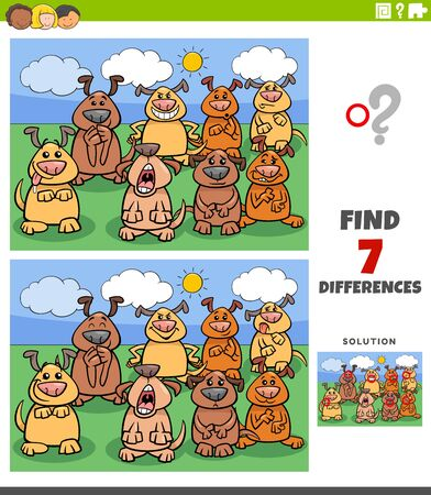 Illustration for Cartoon Illustration of Finding Differences Between Pictures Educational Game for Kids with Comic Dogs Group - Royalty Free Image