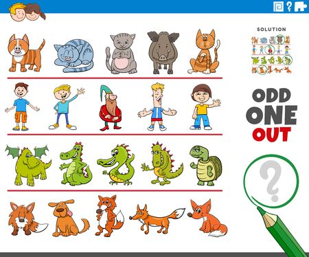 Illustration pour Cartoon Illustration of Odd One Oute Picture in a Row Educational Game for Elementary Age or Preschool Children with Funny Characters - image libre de droit