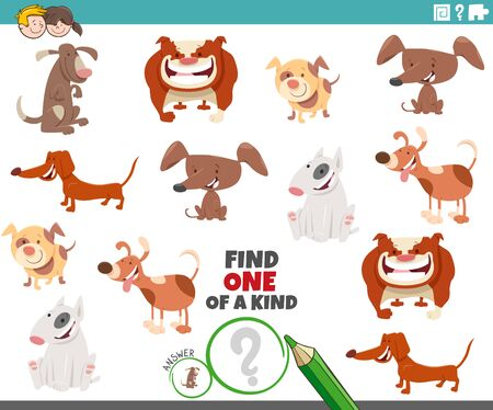 Vektor für Cartoon Illustration of Find One of a Kind Picture Educational Game with comic Dogs Animal Characters - Lizenzfreies Bild