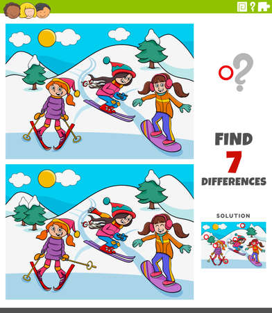 Illustration pour Cartoon Illustration of Finding Differences Between Pictures Educational Game for Kids with Three Girls on Skiing during Winter - image libre de droit