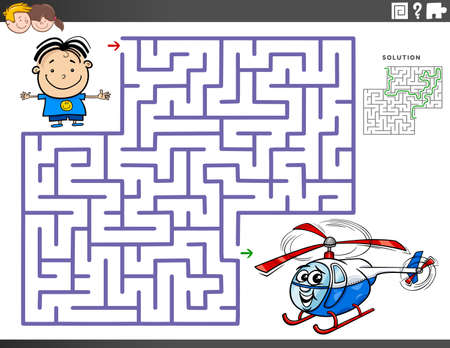 Illustration pour Cartoon Illustration of Educational Maze Puzzle Game for Children with Boy Character and Toy Helicopter - image libre de droit